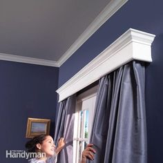 The home carpenter can make a wood valance (or cornice) which will make the window, its curtains and draperies much more attractive. Adding a valance to a window is like putting on a lovely hat to set off a costume. For the purpose you can use. Window Valance, Molding Ceiling, Home, Bedroom Diy, Wood Cornice, Bedroom Decor, Diy Window, Easy Crown Molding, Window Cornices