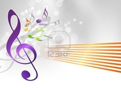 Music background - notes and treble clef Stock Photo - 14227492