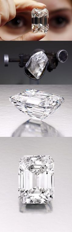 """D, IF 100 carat """"Ultimate Emerald-Cut Diamond"""" to be sold Sotheby's New York - """"a pool of icy water."""" Mined in southern Africa by De Beers, born from a rough over 200 carats. Over a year was spent cutting and polishing the diamond to its perfect state."""