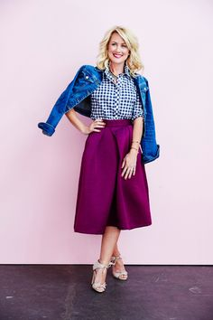 gingham shirt paired w/ rich primrose midi skirt + jean jacket | Skirt the Ceiling | skirttheceiling.com