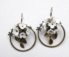 White hoop earrings  Lovely vintage bronze hoop earrings decorated with handmade white lilacs, tree leaves and bronze beads. They hang on bronze