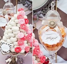Vintage Modern Pink & Gray Party. Love the donut decor and the candy jar dressed up!