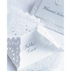 Escort cards- mini envelope, name on outside, table inside