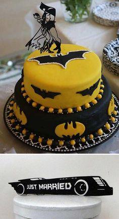 Batman and Catwoman wedding cake topper wedding cake