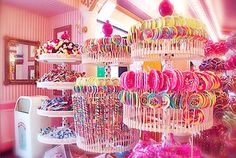 Candy looking at the pink  /  white striped wallpaper... Color idea for sweet 16 decor