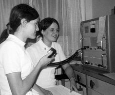1966 - Volunteering, nurses use a short wave radio to give meidcal advise to an Alaskan village.