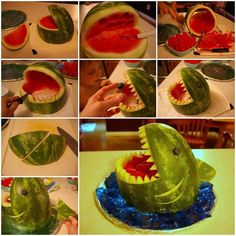 How To Make A Watermelon Shark Perfect For Any Party Or BBQ! is part of How To Make A Watermelon Shark Perfect For Any Party Or Bbq - Add a splash to any summertime gettogether with a Watermelon Shark! Fruit Party, Snacks Für Party, Fruit Fruit, Fruit Basket Watermelon, Watermelon Ideas, Fruit Salads, Fruit Snacks, Party Desserts, Watermelon Shark Carving