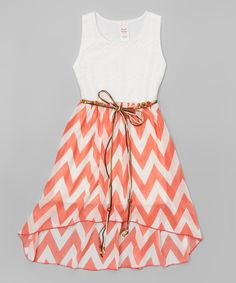 This Coral & White Chevron Hi-Low Dress - Girls by Just Kids is perfect! #zulilyfinds