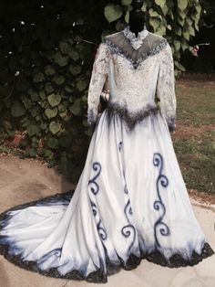 The Corpse Bride Emily Wedding Dress Gown Halloween Costume Hand Painted Sz 10