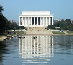 The Reflecting Pool in front of the Lincoln Memorial on the National Mall provides a doubling vista... and a cooling station for geese.
