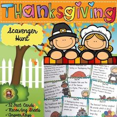 Teach your students all about the history of Thanksgiving with this fun 32 Thanksgiving Scavenger Hunt fact cards. Your students will be in awe as they learn all about the First Thanksgiving celebrated by the Plymouth Pilgrims as well as many other interesting facts about turkeys and the Thanksgiving feast. https://www.teacherspayteachers.com/Product/THANKSGIVING-SCAVENGER-HUNT-2179549