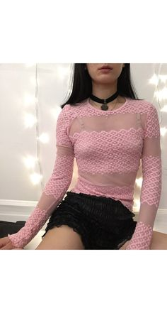 Sheer mesh see through lace pastel grunge mod pink long sleeve tattoo T shirt crop top club kids rave baby spice girls clueless rock punk
