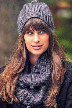 Серая шапка и шарф спицами