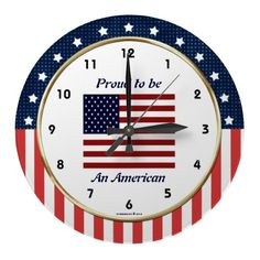 Proud to be an American USA Flag Wall Clock! Great for your home, or as a gift for military family, friends or vets! #Military #Patriotic #USA #Clock