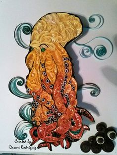 Discovered quilling 2 weeks ago. I practiced all my basic shapes and this is my first project. If you  can't tell it is an octopus.