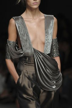 Haider Ackermann silver gray dress and  gauntlets - OMG, fantastic!