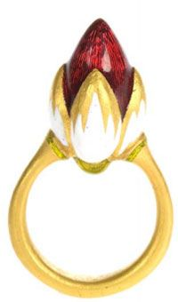 Alice Cicolini - Silk Route Tile Ring: 23.5ct Gold, Meenakari, Lemon Topaz, Peridot, 24ct Gold kundan setting