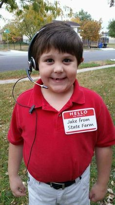 Jake from State Farm:  Red Polo, khaki pants, headset, & name tag - Easiest Halloween costume ever!