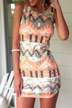 Trendy Round Neck Sleeveless Printed Bodycon Women's Dress