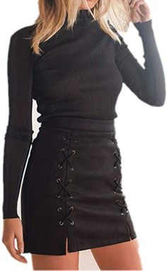 730b722142f2 Amazon.com  katiewens Women s Classic High Waist Lace Up Bodycon Faux Suede  A Line
