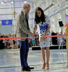 The Duke and Duchess of Cambridge cut a ribbon to open the Centre of Excellence for Hayward Tyler, the worldwide market leader in the manufacture of Boiler Circulating Pumps and specialist wet-wound motors on August 24, 2016 in Luton, England.