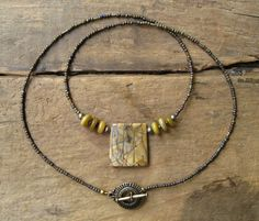 Yellow Jasper Necklace ochre Picasso jasper jewelry, fall fashion by ArtifactsEtCetera, $36.00