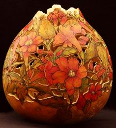 The International Gourd Art Festival is the worlds largest festival of arts, crafts, and gourds! Decorative Gourds, Hand Painted Gourds, Peach And Green, Art Carved, Arte Popular, Gourd Art, Art Festival, Pyrography, Vases