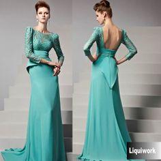 Turquoise Lace 3/4 Long Sleeve Vintage Style Peplum Formal Evening Dress SKU-122907