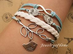 infinityowlsleaf&bird braceletinfinity by jewelryofhome on Etsy, $5.99