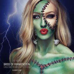 ⚜⚉ALL ABOUT HALLOWEEN⚉⚜ ♦dAǸ†㉫♦ Bride of Frankenstein Horror Makeup, Zombie Makeup, Sfx Makeup, Cosplay Makeup, Costume Makeup, Makeup Art, Amazing Halloween Makeup, Halloween Art, Halloween Face Makeup
