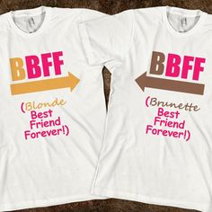 Matching Blonde and Brunette Best Friends Forever T-Shirts - Diamond Images