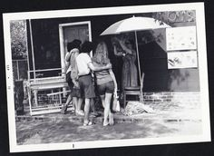Vintage Photograph People From Behind Having Picture Taken By Woman With Camera