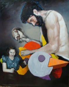 Homem com sabre e mulher