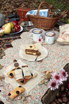 autumn picnic ...enamel mugs, cake, binoculars....