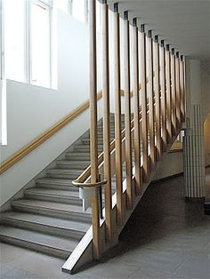 Simple and striking staircase. Railing Design, Staircase Design, Staircase Railings, Stairways, School Architecture, Interior Architecture, Architectural Sculpture, Technical University, Famous Architects