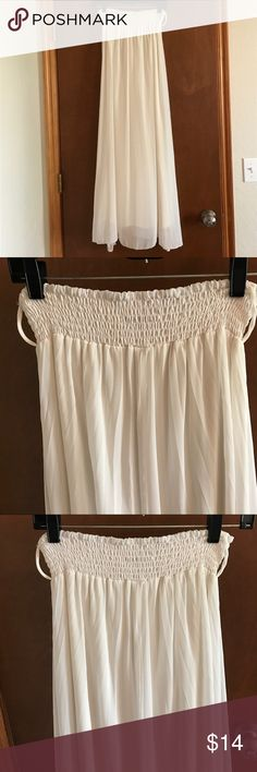 Sheer White Maxi This white Maxi is great paired with a crochet belt! It even has belt loops 😍😍 I love it with a denim top and wedges, but you could dress it up for a more classy look as well! Make me an offer!! Double Zero Dresses Maxi