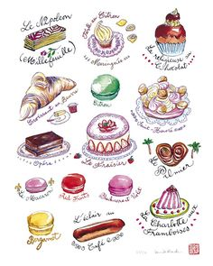 Art for kitchen Food Art French pastries collection 8X10 Limited edition print The kitchen collection. $25.00, via Etsy.