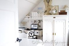 craft room makeover, cleaning tips, craft rooms, home office, repurposing upcycling, storage ideas, Repurposed vintage furniture make an inviting home office