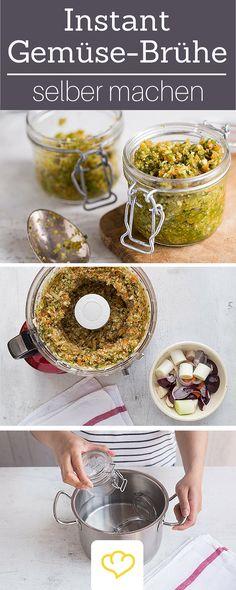 Künstliche Geschmacksverstärker Adé! Die selbstgemachte Instant Brühe hält sich monatelang im Glas und verleiht Suppen, Soßen oder Pasta schnelle Würze. Unbedingt ausprobieren!                                                                                                                                                                                 Mehr