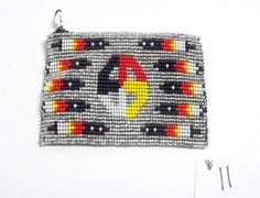 "A pretty beaded coin purse which measures 3x4"" Medicine Wheel design. Black fabric lined. zips close. Just $19.95 w/ FREE SHIPPING within the USA Other colors in this design available in our ebay store  #purse #beadwork #medicinewheel"