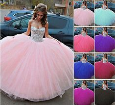 Hot Rhinestone Sweetheart Quinceanera Dresses Wedding Prom Formal Ball Gowns New Black Quinceanera Dresses, Big Wedding Dresses, Wedding Veil, Quince Dresses, Ball Dresses, Ball Gowns, Sweet 15 Dresses, Sweet Dress, Vegas Dresses