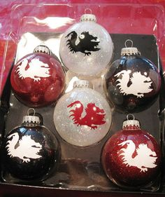 Christmas ornaments decorated in college colors by CockyLadies, $20.00