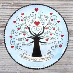 Personalized Family Plate - Family Tree - Family Plate - Personalized Family Plate - Adoption Gift - Housewarming plate by LittleMissArtyPants on Etsy Sharpie Plates, Sharpie Crafts, Sharpie Art, Sharpies, Painted Ceramic Plates, Ceramic Painting, Pottery Painting, Hand Painted Ceramics, Painted Pottery