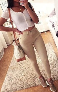 ab7581cad5bd5 #winter #outfits white button-up crop-top and beige leggings Beige Sneakers
