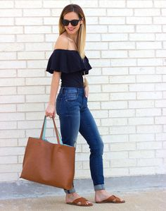 ruffle off the shoulder top + distressed skinny jeans / @livvylandblog LivvyLand, Austin TX fashion blog
