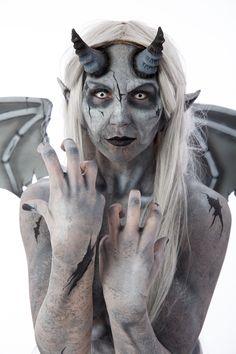 Gargoyle Body Paint Prosthetics and body paint by Lizz Daley Gargoyle, monster, statue, stone, angel, makeup