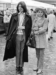 Marianne Faithfull  Mick Jagger | wow |  70's fashion | black  white photography | iconic | check suit | hot lips |