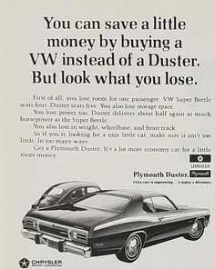 1972 Plymouth Duster Vintage Ad - What You Loose If Buy VW Instead #VintageMuscleCars
