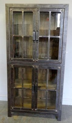 Wood and Metal Industrial Style Vitrine. Build in for storage
