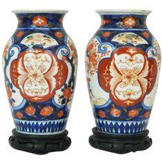 1stdibs   Pair of Beautiful Imari Vases Depicting Floral Decorations 19th century